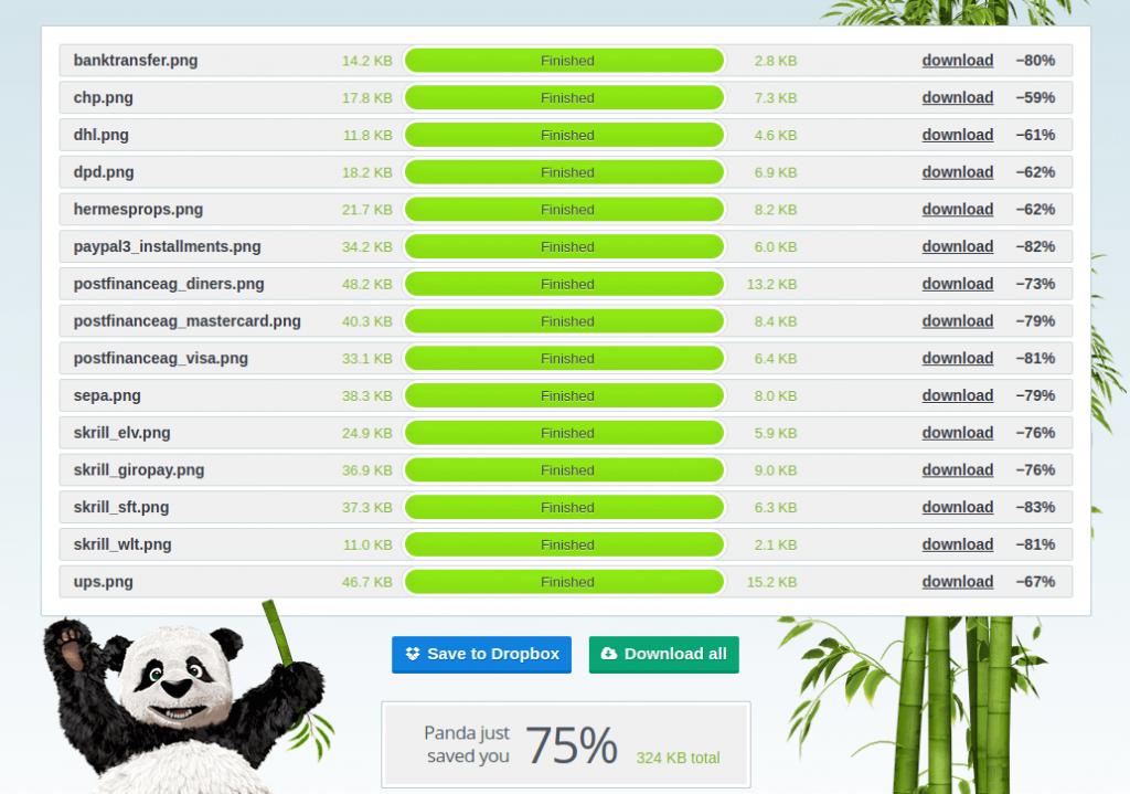 TinyPNG in Aktion - Hier komprimiert TinyPNG die via Drag & Drop eingefügten Shopping-Icons mit einer im Kompremierungsrate von 75%